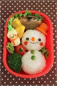 Cute Snowman Onigiri Rice Ball Christmas Bento Lunch
