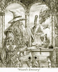 Wizard's Emissary by Ed Beard Jr Wizard Dragon Fantasy Myth Mythical Mystical Legend Dragons Wings Sword Sorcery Magic Coloring pages colouring adult detailed advanced printable Kleuren voor volwassenen coloriage pour adulte anti-stress kleurplaat voor volwassenen Line Art Black and White