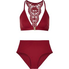 I.D. Sarrieri Elite Chantilly lace-trimmed bikini (710 CAD) ❤ liked on Polyvore featuring claret