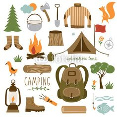 Set Of Camping Equipment Icon
