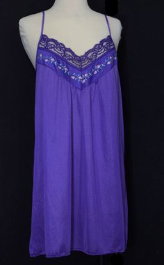 Vintage Purple Babydoll Nightie with Pink Floral Embroidery Size Medium 423d9ce21