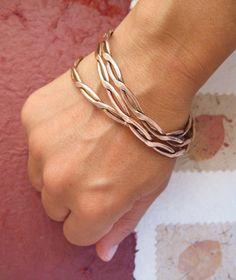 Wicker  rigid bangle bracelet with inter wining by daganigioielli, $39.20