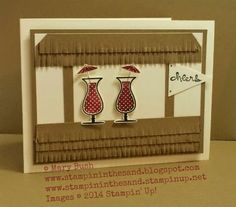 Tiki hut card created from the Stampin Up Happy Hour stamp set