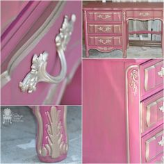 Vintage Charm Restored used our Warm Silver Metallic Paint and Antique Gold Mica Powder to glam up this dresser and hardware! Super Pretty in Pink...and Metallics!