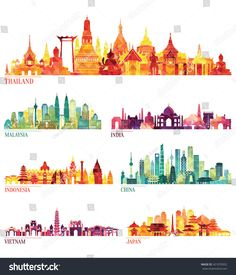 Skyline detailed silhouette set (Thailand, Malaysia, India, Indonesia, China, Vietnam, Japan ). Vector illustration