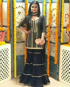 Beautiful Black Suit  Custom-made Suits now available in any sizes. Cod Pakistani Party Wear Dresses, Indian Dresses, Indian Outfits, Punjabi Dress, Punjabi Suits, Beautiful Dresses, Nice Dresses, Sharara Designs, Heavy Dresses