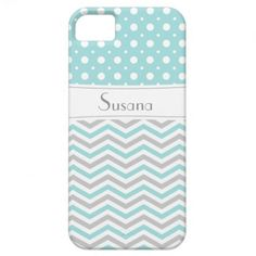Modern light blue, grey, white chevron and polka dot pattern iPhone case. A stylish, elegant, girly design using the classic zigzag stripes and cute polka dots with a contemporary retro look.
