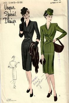 Vogue Special S-4415 | 1940s one-piece coat-dress. Gasp. Love.