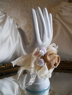 Burlap Bridal Wrist or Pin On Corsage handmade by PapernLace
