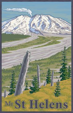Vintage Mount St. Helens Travel Poster Canvas Print / Canvas Art by Mitch Frey