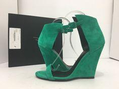 Giuseppe Zanotti E60266 Cam Green Suede Womens High Heel Wedge Sandals 38 / 8 M…