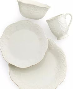 Lenox Dinnerware, French Perle Collection & Reviews - Dinnerware - Dining - Macy's Polenta Appetizer, Lenox French Perle, Tea Stains, Dinnerware Sets, Scalloped Edge, Hand Embroidery, Stoneware, Table Settings, Entertaining