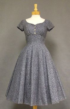 Slate Blue Lace 1950's Cocktail Dress w/ Rhinestone Buttons