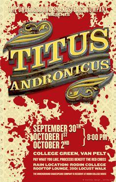 Titus Andronicus  Director: Kate Davis Poster Design: Prescott Perez-Fox, via Behance