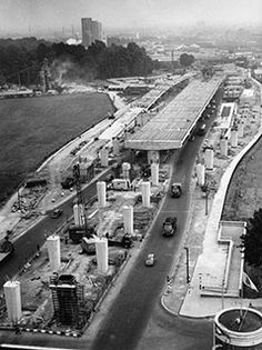 Construction of the elevated section of the M4 extension in west London in 1963