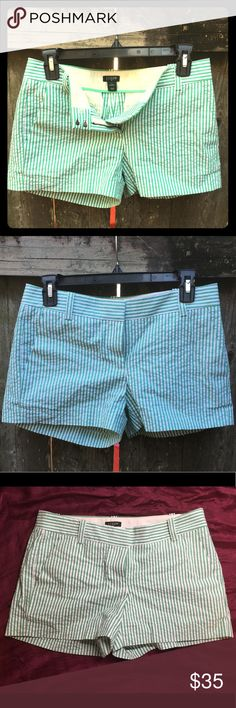 J.Crew Green & white Seersucker Shorts Adorable shorts. 3 inch inseam (see photos). Front pockets. Belt loops. J. Crew Shorts