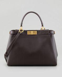 Peekaboo Leather Tote Bag, Brown/Purple by Fendi at Bergdorf Goodman.Oh I Luv Fendi <3