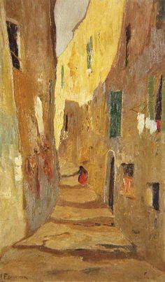 .:. Οικονόμου Μιχαήλ – Michail Oikonomou [1888-1933] Δρόμος της παλιάς Μασσαλίας Name Paintings, Paintings I Love, Greece Painting, 10 Picture, Greek Art, First Art, Artist Art, Painting & Drawing, Modern Art