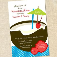 Hawaiian Luau Coconut Tropical Drink Invitations for Graduations, Engagements, Beach & Pool Parties by Sweet Wishes Stationery