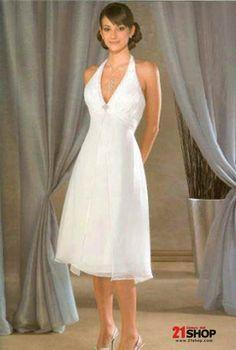 Tea Length Wedding Dresses Halter Top Chiffon A Line Dress Bridal 21