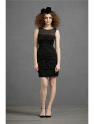 Cotton Placed Scalloped Layers jet-black Short Special Occasions Dress