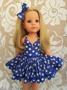 SalStuff, Polka Dot 50's style Dress &Bow Gotz Designafriend American Girl doll