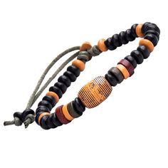 Men's Black Orange Red Bead & Leather Bracelet - Adjustable - Casual Hippie Style