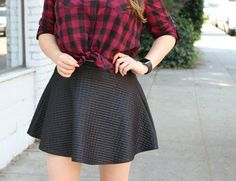 Plaid Red Shirt and Black Skirt Red Shirt Outfits, Fall Outfits, Cute Outfits, Teen Fashion, Fashion Outfits, Black Skater Skirts, Rock, My Outfit, Passion For Fashion