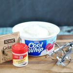 Homemade Cool Whip Ingredients  1/4 cup cold water 1 teaspoon unflavored gelatin 1/2 teaspoon cream of tartar 1 3/4 cups whipping cream   Recipes 3 tablespoons sugar   Recipes 1 teaspoon vanilla
