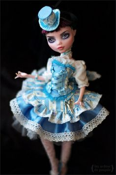 "Outfit ""Sky-blue dreams"" for Monster High / OOAK by Jewel Monster High Doll Clothes, Custom Monster High Dolls, Monster Dolls, Monster High Repaint, Custom Dolls, Pretty Dolls, Beautiful Dolls, Ooak Dolls, Art Dolls"