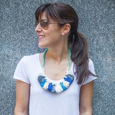 Frilly fun dresses up blogger Sunday Beach Blog's white tee! The Wood Bead Tassel Necklace is a season-perfect #statement full of #tassels and #fringe from SwellCaroline.com!