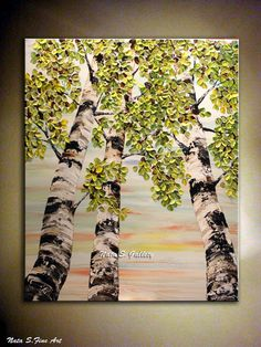 """Birch Tree ORIGINAL Painting Landscape Contemporary Painting.Impasto,Palette Knife.Thick Birch Tree Painting 36""""x 30"""" ..... by Nata S."""