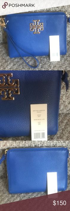 🆕 TORY BURCH Large Leather Britten Wristlet Fabulous new with tags large leather wristlet ! Fits an iphone 7 plus cards, cash and keys!  Plenty of room for the essentials!  Beautiful Bondi Blue. Tory Burch Bags Clutches & Wristlets