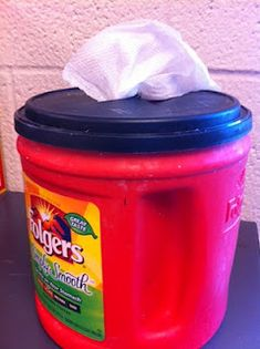 DIY Wet wipes for art room clean-up, using paper towels and a coffee can.  yay!
