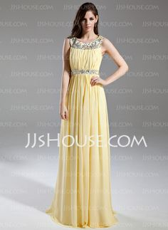 Prom Dresses - $136.99 - A-Line/Princess Scoop Neck Floor-Length Chiffon Prom Dress With Ruffle Beading (018015631) http://jjshouse.com/A-Line-Princess-Scoop-Neck-Floor-Length-Chiffon-Prom-Dress-With-Ruffle-Beading-018015631-g15631