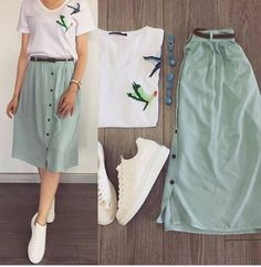 Ideas For Fashion Outfits Moda Juvenil Modest Outfits, Skirt Outfits, Modest Fashion, Skirt Fashion, Hijab Fashion, Fashion Dresses, Fashion Shoes, Fashion Clothes, Cute Summer Outfits