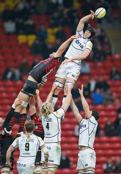 Sale's James Gaskell wins a lineout