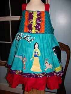 Disney Mulan appliqued Boutique dress CUSTOM 12mo-12yrs. $185.00, via Etsy.