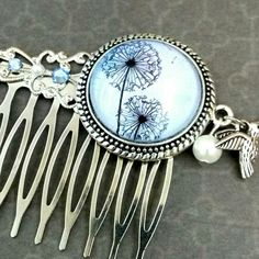 Romantic gift idea for her: Dandelion hair comb in blue silver with shell core Pearl; Brand New in my Etsy shop