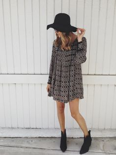 fall dress, short boots and black hat