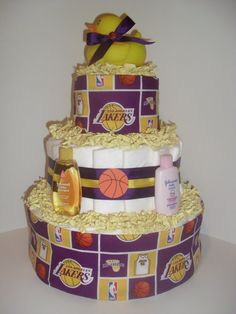 Purple & Gold Los Angeles Lakers Theme by DiapercakeGiftsNMore, $30.00