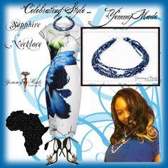 """Celebrating Style... YemmyMade Sapphire Necklace"" by cj-d-sign on Polyvore"