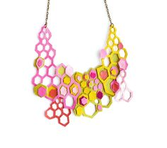 Neon Leather Necklace Molecular Geometric Hexagons - Boo and Boo Factory - Handmade Leather Jewelry
