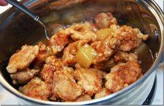 I call this dish Pineapple chicken. It's similar to lemon chicken, or sweet and sour chicken sans red food coloring. Once you make it you'll be surprised how easy it is to mimic Chinese take-out food. Except I think it tastes fresher and a bit … Easy Chinese Recipes, Asian Recipes, Ethnic Recipes, Oriental Recipes, Sweet N Sour Chicken, Lemon Chicken, Baked Chicken, Meat Recipes, Cooking Recipes