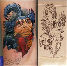 """No I said 'ello' but that's close enough""...Oleg Turyanskiy -( Labyrinth Movie Worm tattoo), I wouldn't get this as a tattoo personally, but I think the artist did a really great job! Looks just like the adorable worm from the movie :) one of my favorite films! - liza"