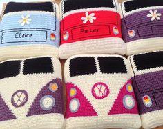 Comparable Gadgets Like VW Campervan Crochet Campervan Cushion / Cushion Vdub Camper Splitty on Etsy Knitting Patterns Crochet Pillow Patterns Free, Crochet Motifs, Knitting Patterns, Crochet Blocks, Afghan Patterns, Free Knitting, Crochet Home, Crochet Gifts, Knit Crochet