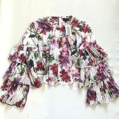 INTERMIX Tops | Intermix Alberta Ruffle Sleeve Floral Topblouse | Poshmark Floral Tops, Floral Prints, Ruffle Sleeve, Blossoms, Red Green, Kimono Top, Stripes, Silk, Blouse