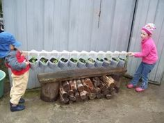 Use milk jugs to plant in--push a board through the jug handles & attach to a wall or fence--wonderful fun.