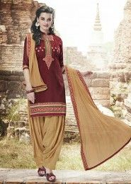 Casual Wear  Cotton Brown Embroidered Work Patiala Suit