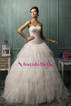 2016 vestidos de novia sin tirantes con volantes blusa con apliques de tul Tren…